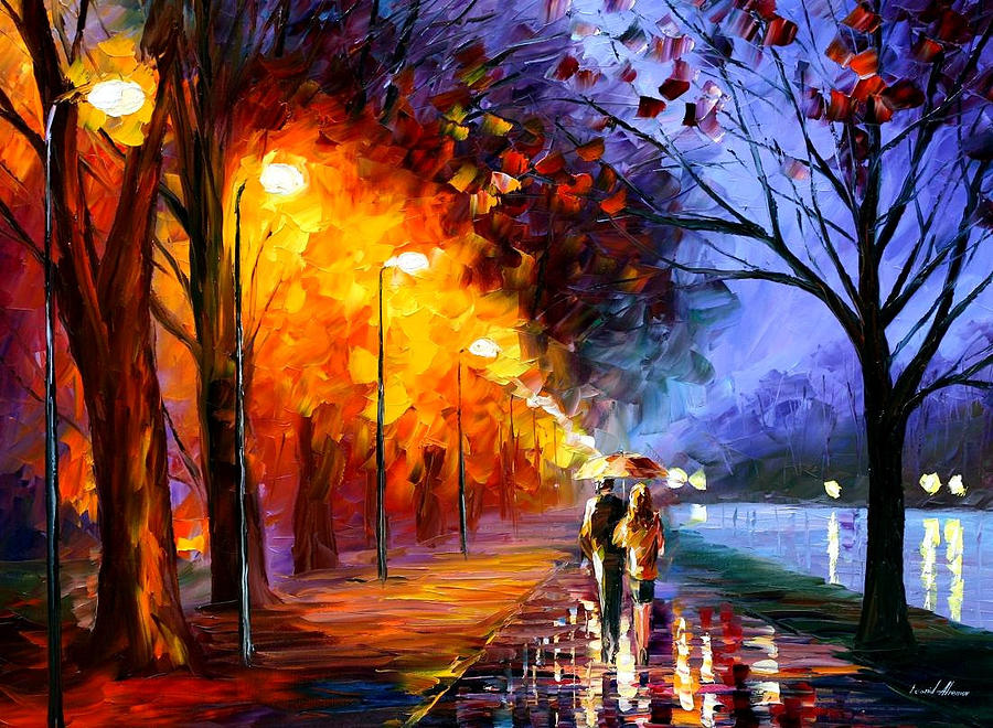 Leonid Afremov Painting - Alley By The Lake - Palette Knife Landscape Oil Painting On Canvas By Leonid Afremov by Leonid Afremov