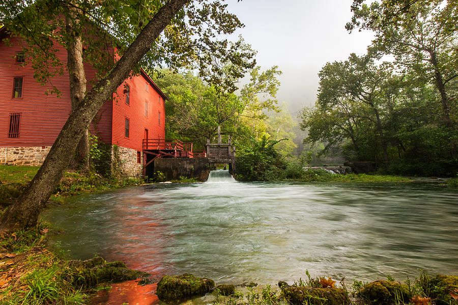 America Photograph - Alley Spring Grist Mill Waterfall And Lake by Gregory Ballos