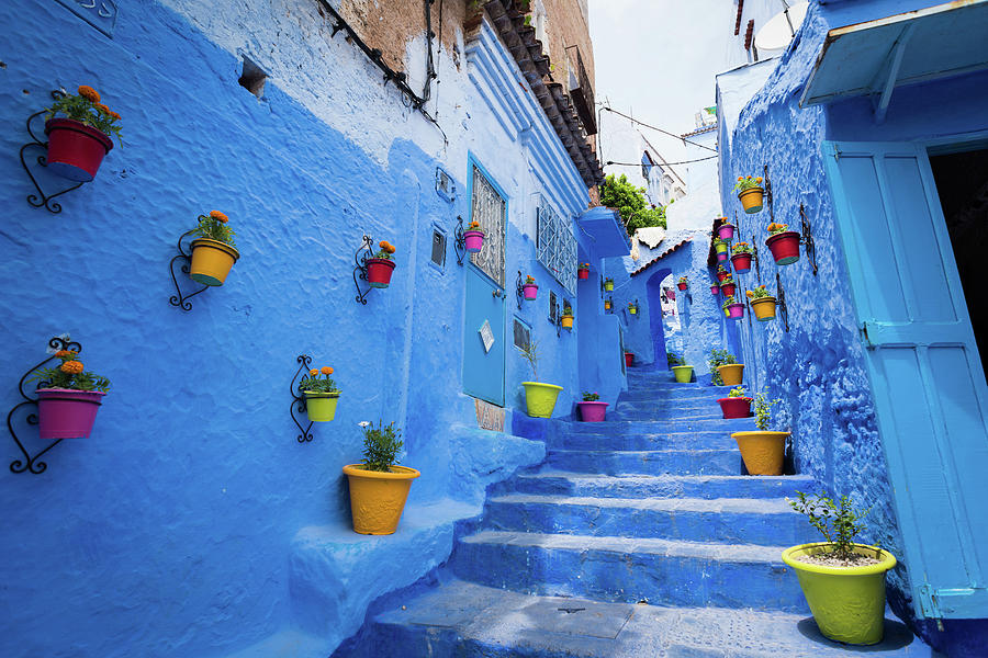 Alleyway In Chefchaouen, Morocoo Photograph by Stockstudiox