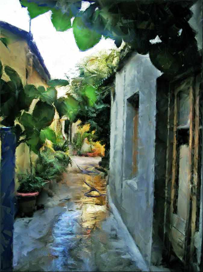 Alleyway In Rhodes Greece Photograph by Judy Paleologos