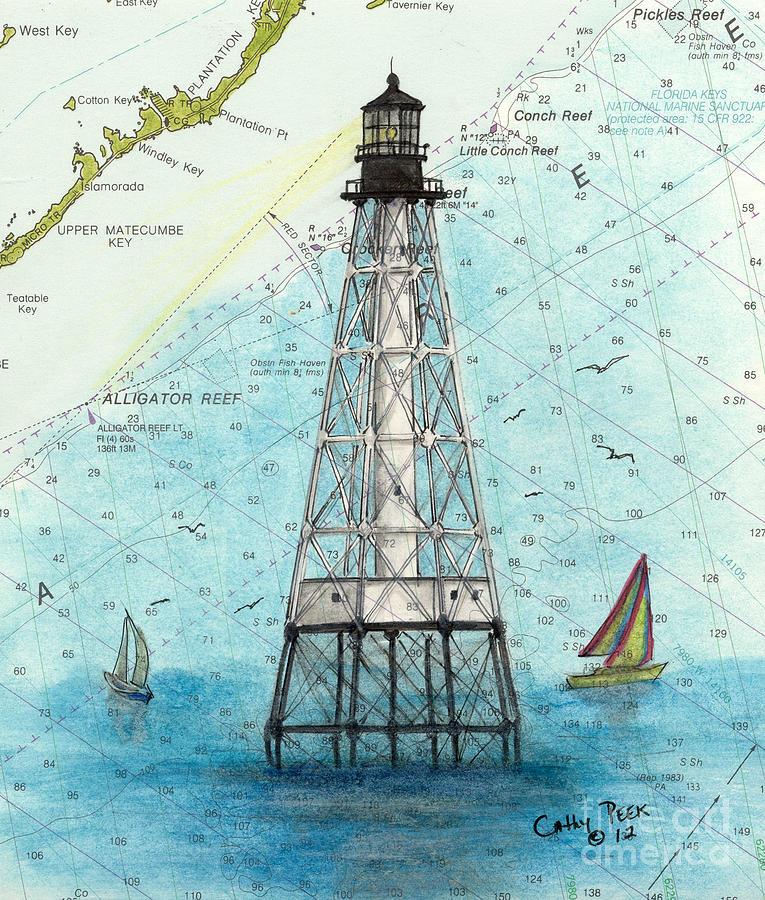 Alligator Reef Lighthouse Fl Keys Nautical Map Cathy Peek Painting