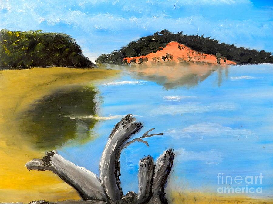 Beach Painting - Allonah Beach Tasmania by Pamela  Meredith