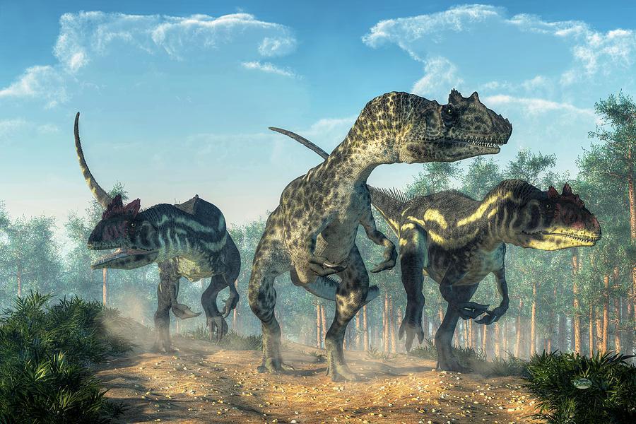 Allosaurus Digital Art - Allosauruses by Daniel Eskridge