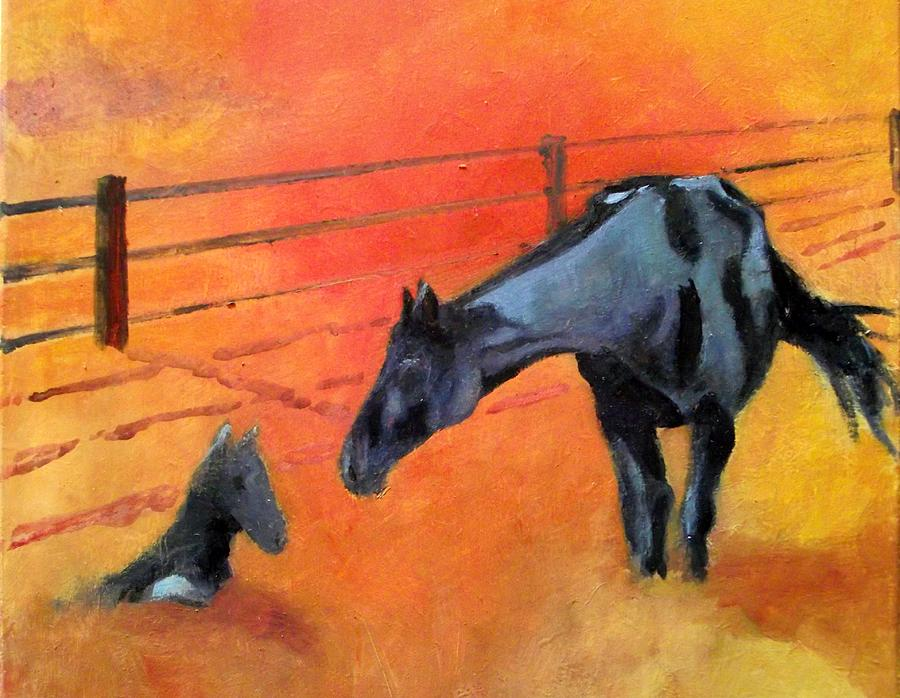 Horses Painting - Alls Well by Ken Parkes