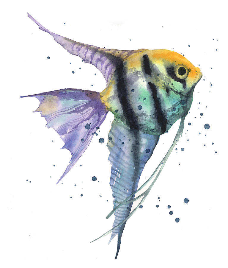 Angelfish Painting - Alluring Angelfish by Alison Fennell