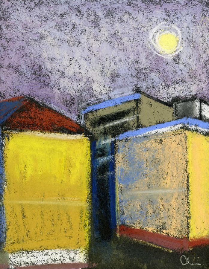 Cityscape Pastel - Almost Full Moon by Lelia Sorokina