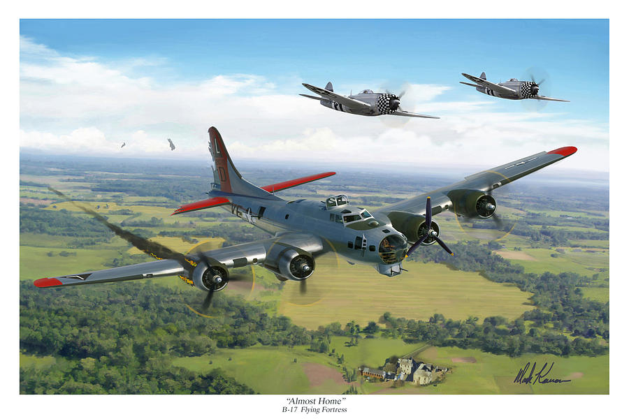 Airplane Painting - Almost Home  B-17 Flying Fortress by Mark Karvon