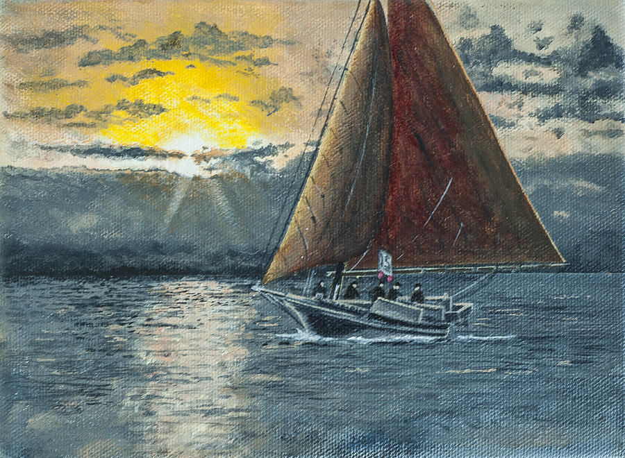 Skipjack Painting - Almost Home by Ian Scott-Taylor