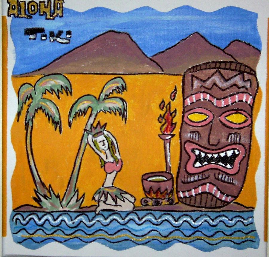 Aloha Tiki Mixed Media by Lenny J  Cota Jr