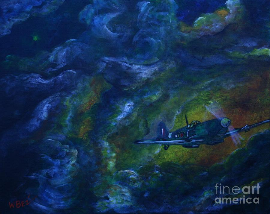 Spitfire Painting - Alone In The Clouds by William Bezik