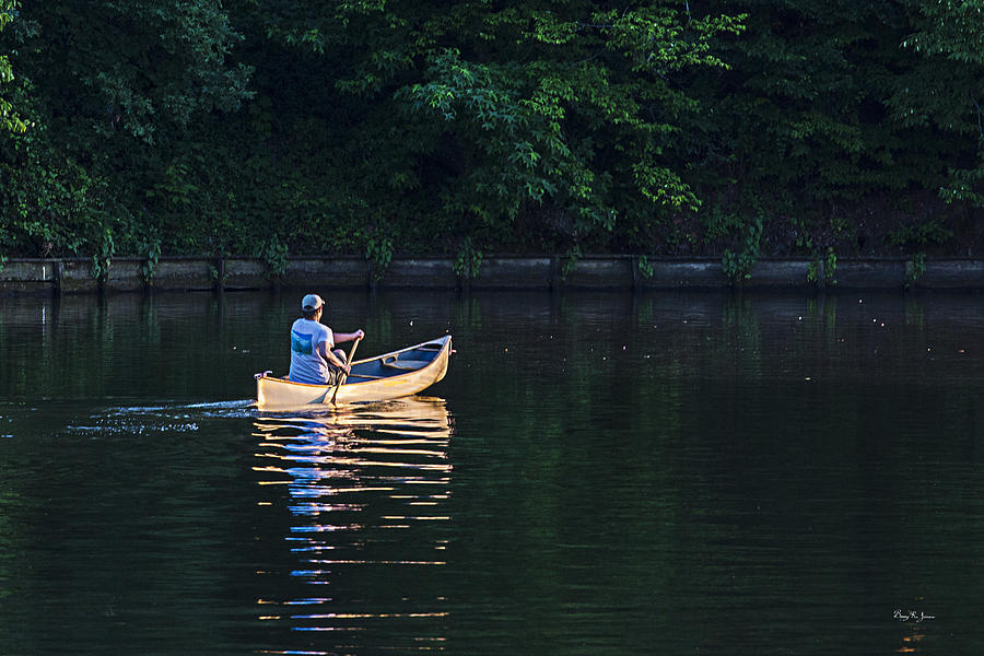 Canoe Photograph - Alone On The Lake by Barry Jones