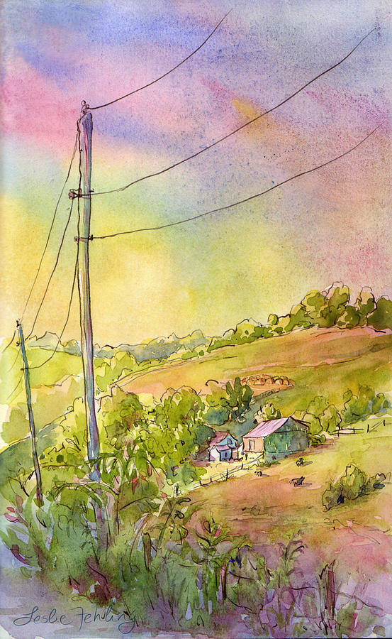 Landscape Painting - Along Craynes Run Road by Leslie Fehling