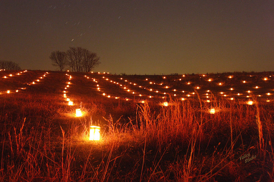 A Large Field With Hundreds Of Luminaries Along The Hagerstown Pike On The Antietam National Battlefield. This Is In An Area Known As The North Woods. Each Year 23 Photograph - Along Hagerstown Pike 12 by Judi Quelland