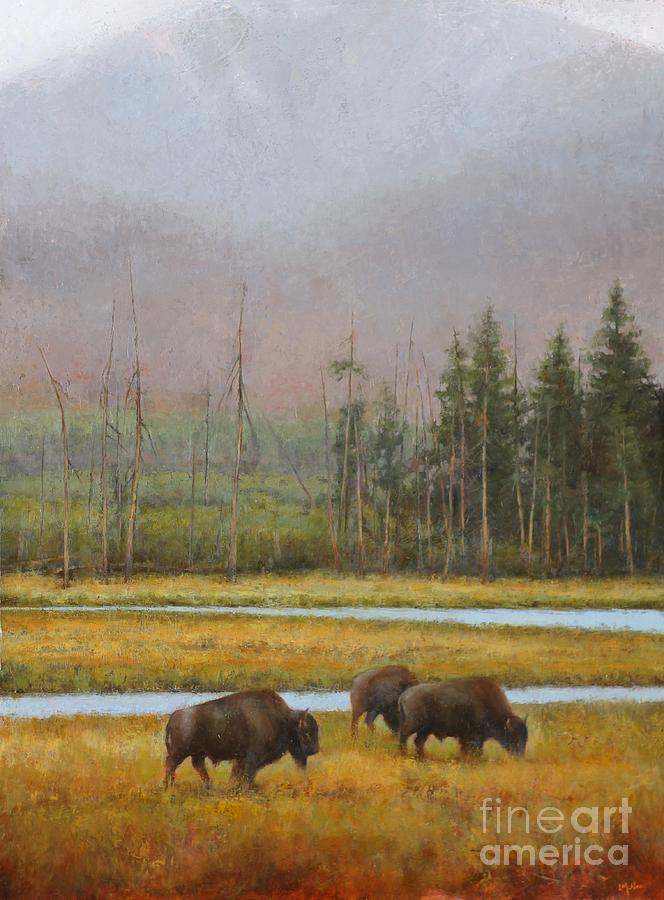Bison Painting - Along The Madison by Lori  McNee