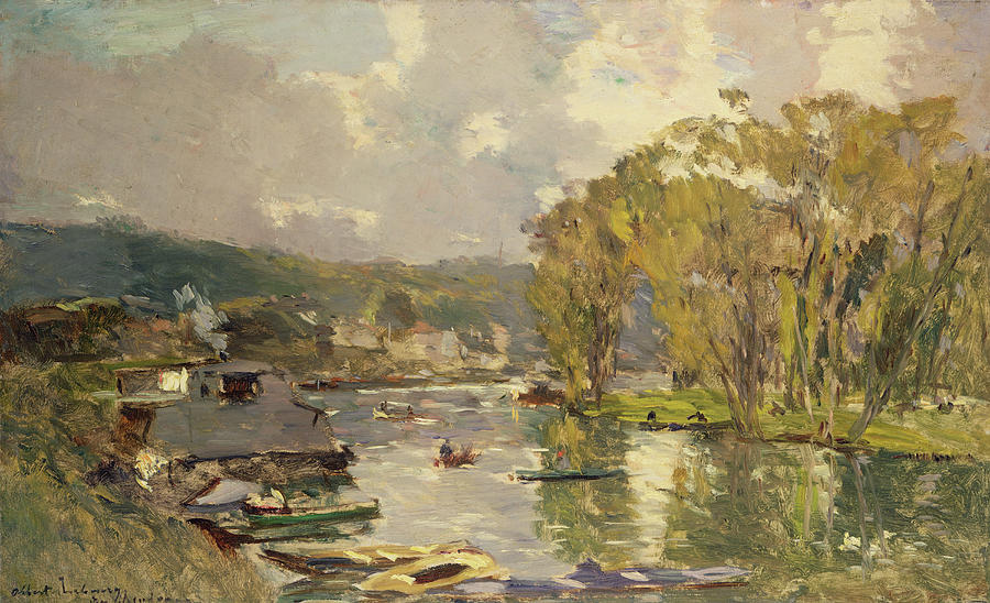 Impressionist Painting - Along The Seine At Meudon by Albert Charles Lebourg