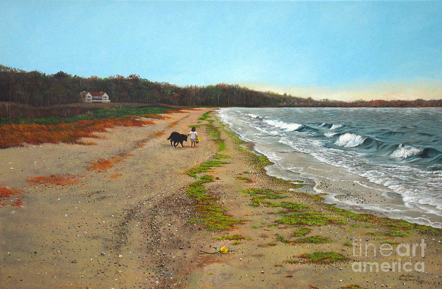 Beach Painting - Along The Shore In Hyde Hole Beach Rhode Island by Christopher Shellhammer
