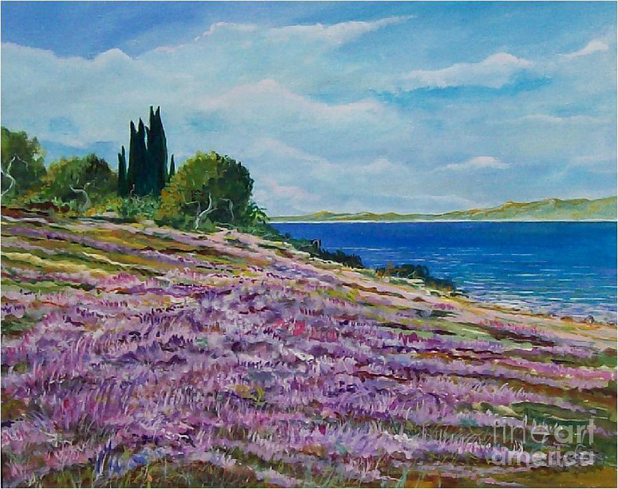 Landscape Painting - Along The Shore by Sinisa Saratlic