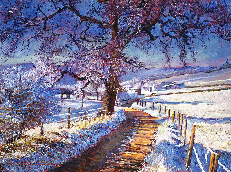 Landscape Painting - Along The Snow Lined Road by David Lloyd Glover