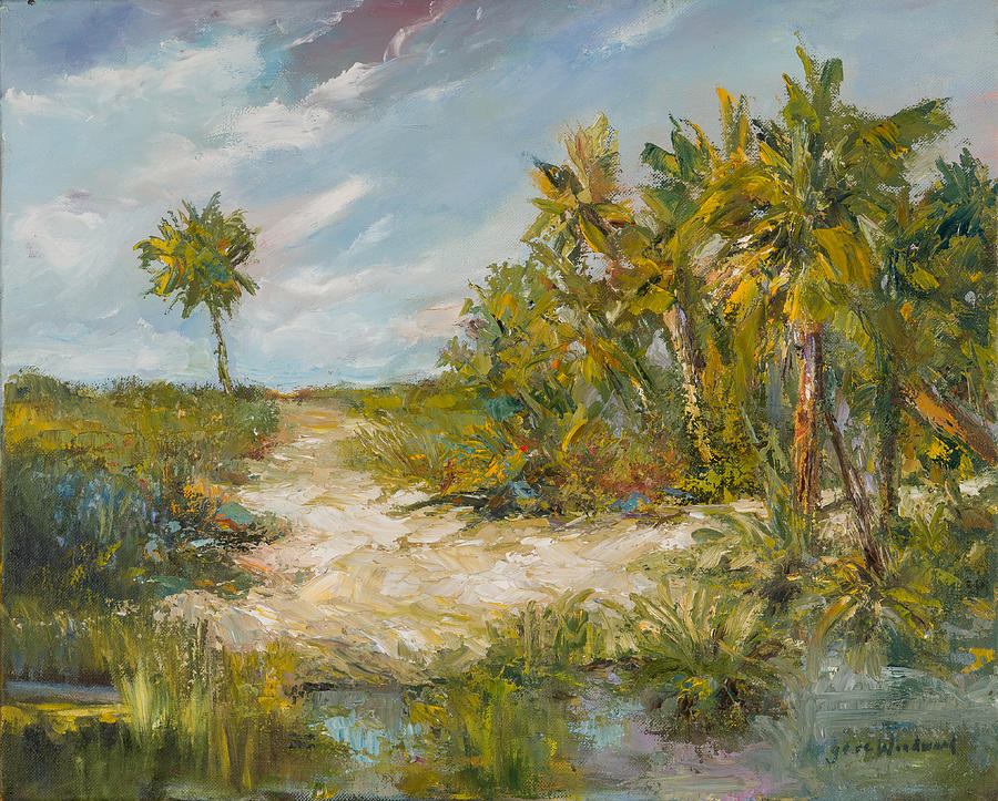 Palm Trees Painting - Along The Wilds by Jane Woodward