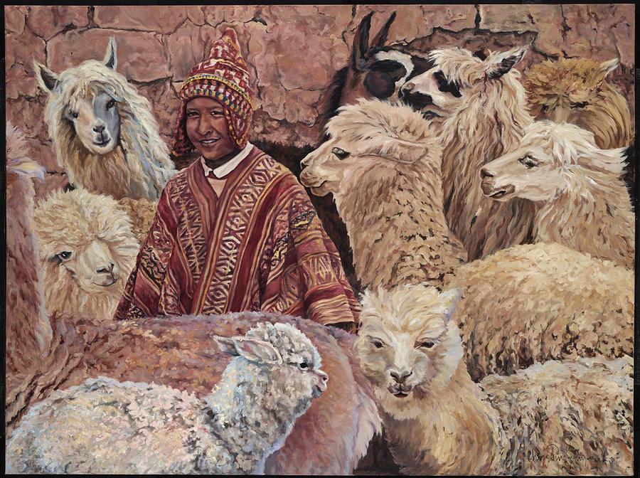 Peru Painting - Alpaca shepherd by Christine Lytwynczuk