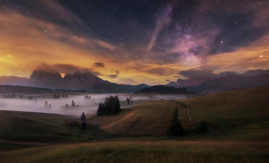 Night Photograph - Alpe Di Siusi At Night by Ales Krivec