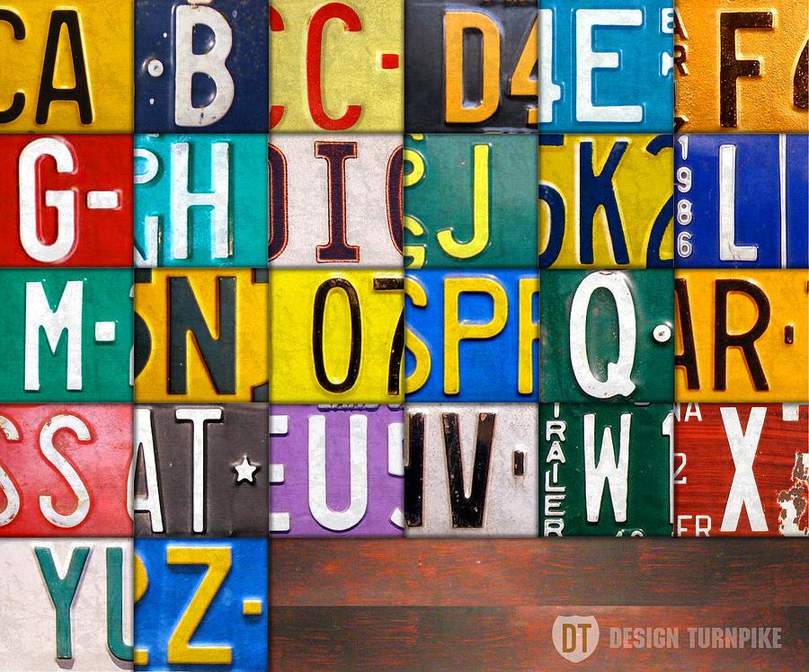 Alphabet Mixed Media - Alphabet License Plate Letters Artwork by Design Turnpike