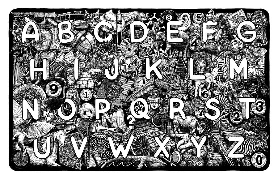 Alphabet Drawing - Alphabet Soup by Matthew Ridgway