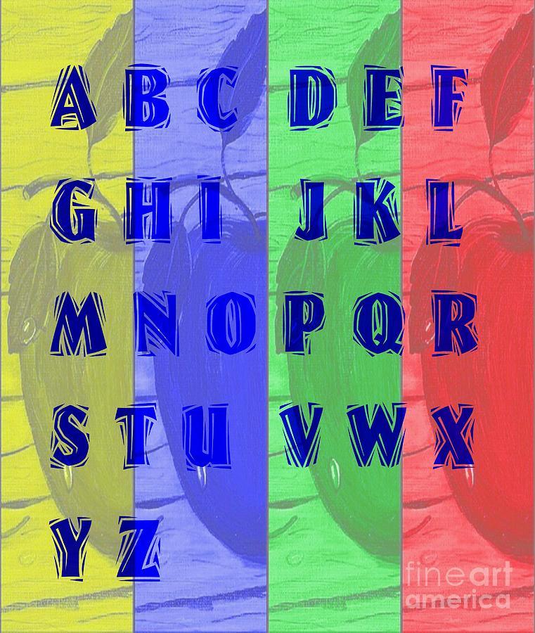 Alphabet Digital Art - Alphabet With Apples by Barbara Griffin