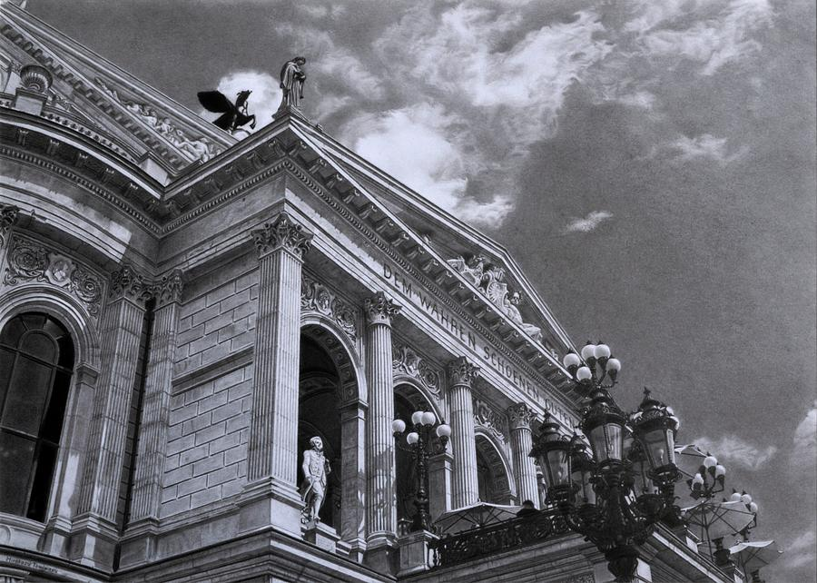 Pencil Drawing Painting - Alte Oper Frankfurt by Hirokazu Tomimasu