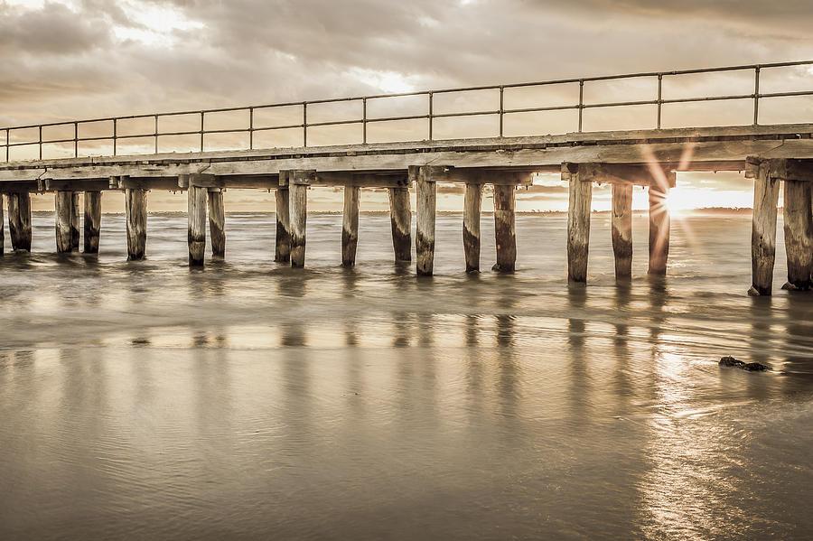 Altona Photograph - Altona Pier In Sepia by Shari Mattox