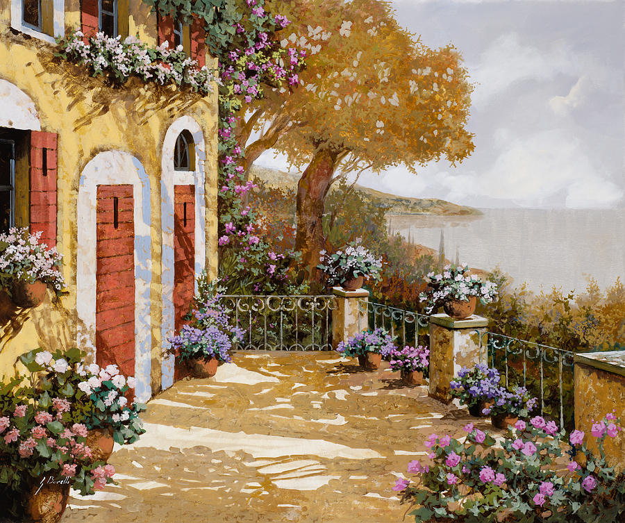 Terrace Painting - Altre Porte Rosse by Guido Borelli