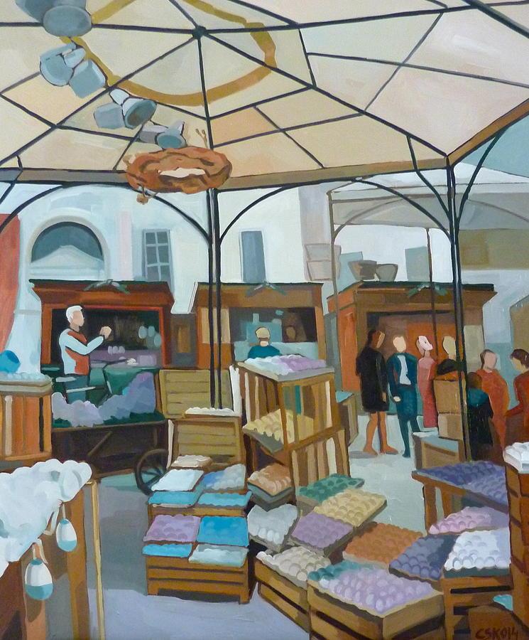 Vienna Painting - Altwiener Ostermarkt by Carmen Stanescu Kutzelnig