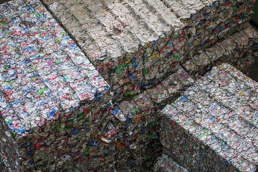 Waste Photograph - Aluminium Cans At A Recycling Centre by Peter Menzel
