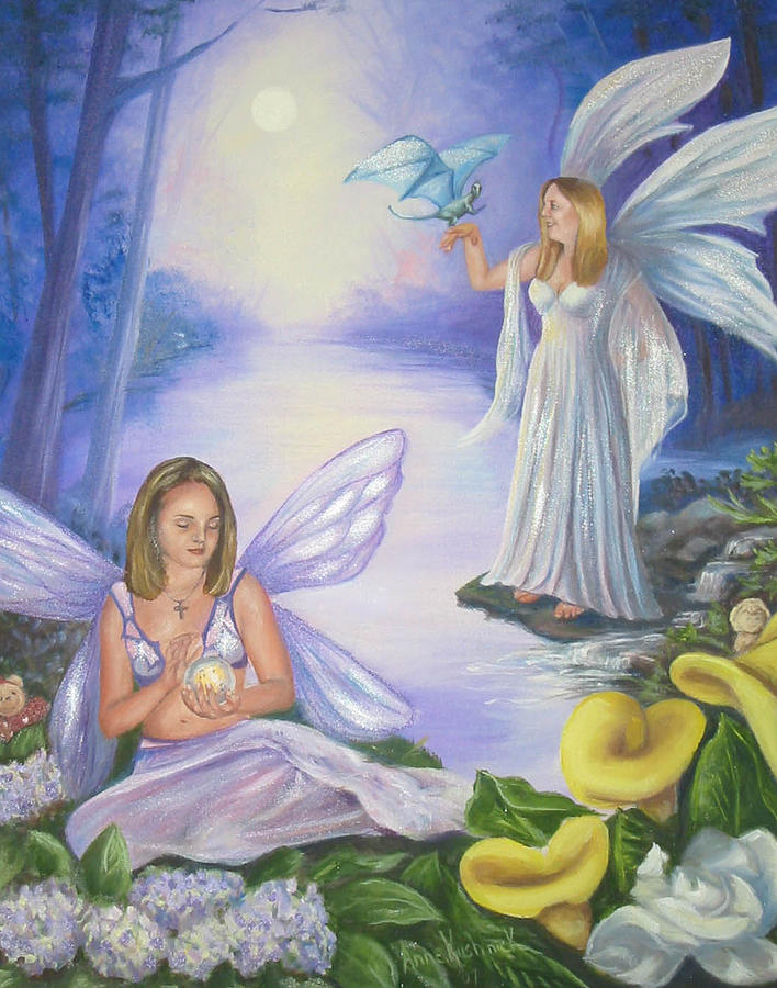 Fairies Painting - Alyssa and Victoria by Anne Kushnick