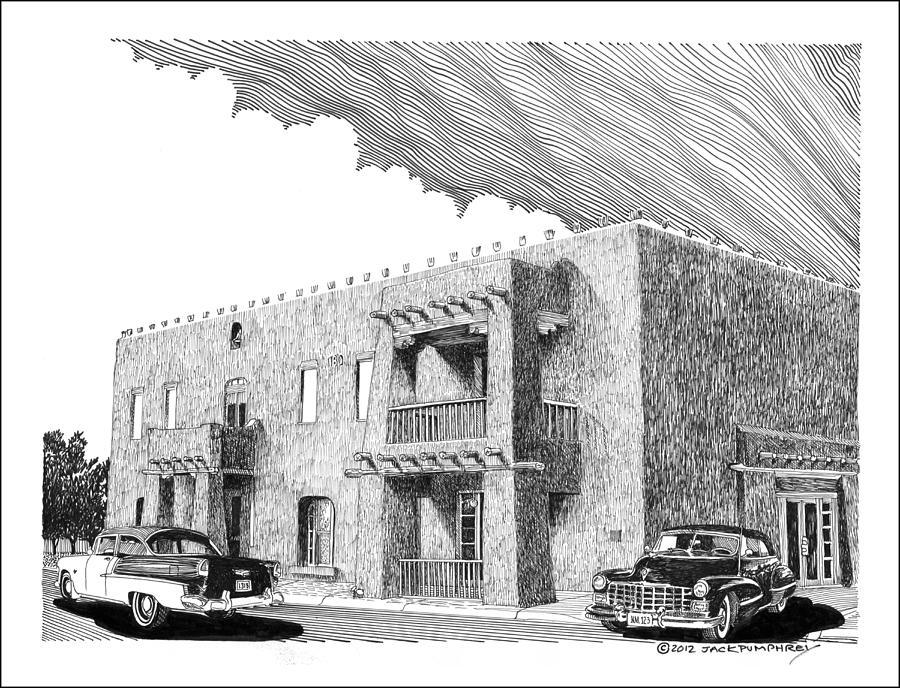 Libations Drawing - Amador Hotel In Las Cruces N M by Jack Pumphrey