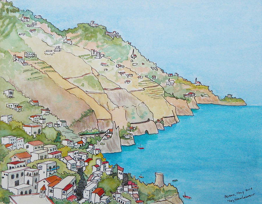 Landscape Painting - Amalfi Coast Praiano Italy by Mary Ellen Mueller Legault