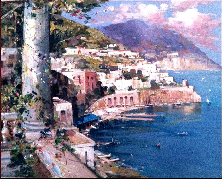 Amalfi Seascape Italy Painting By Ernesto Di Michele