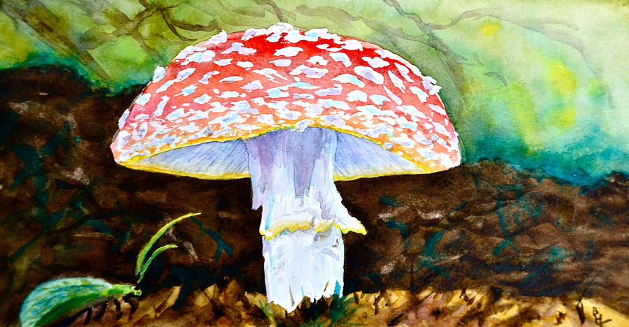 Amanita Painting - Amanita And Lacewing by Beverley Harper Tinsley
