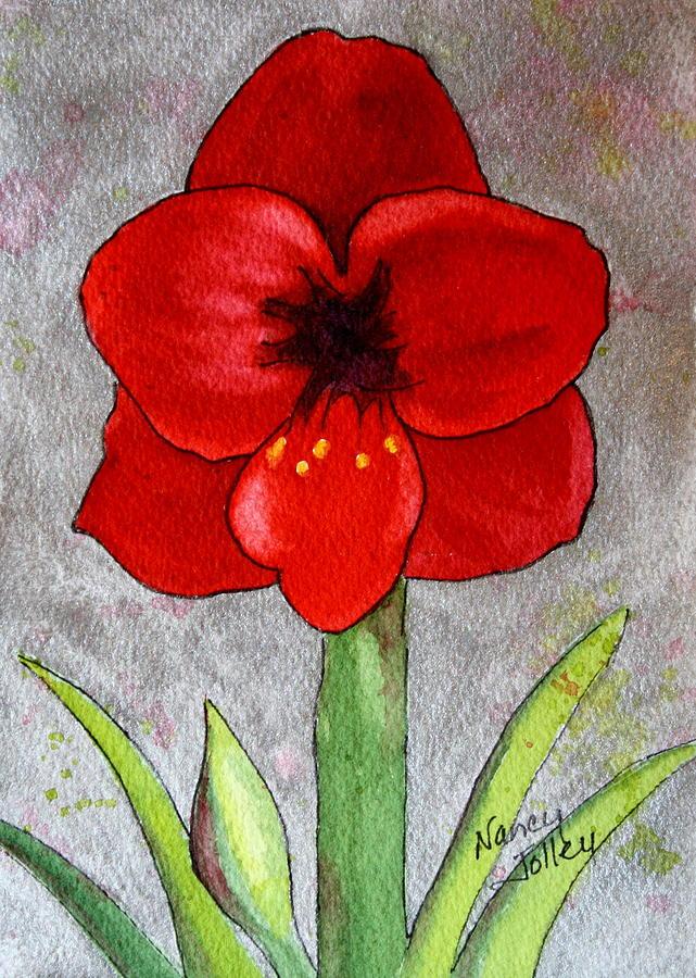 Amaryllis Painting - Amaryllis 2 by Nancy Jolley