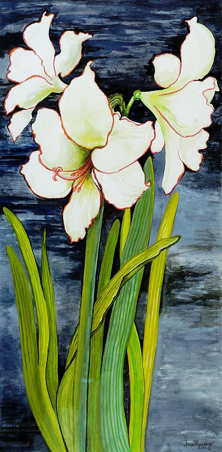 Green Painting - Amaryllis Against A Night Sky by Joan Thewsey