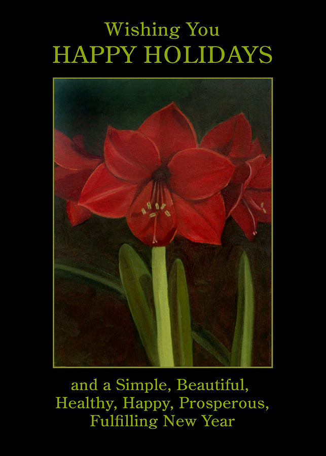 Amaryllis Painting - Amaryllis Flower Holiday Card by Nancy Griswold