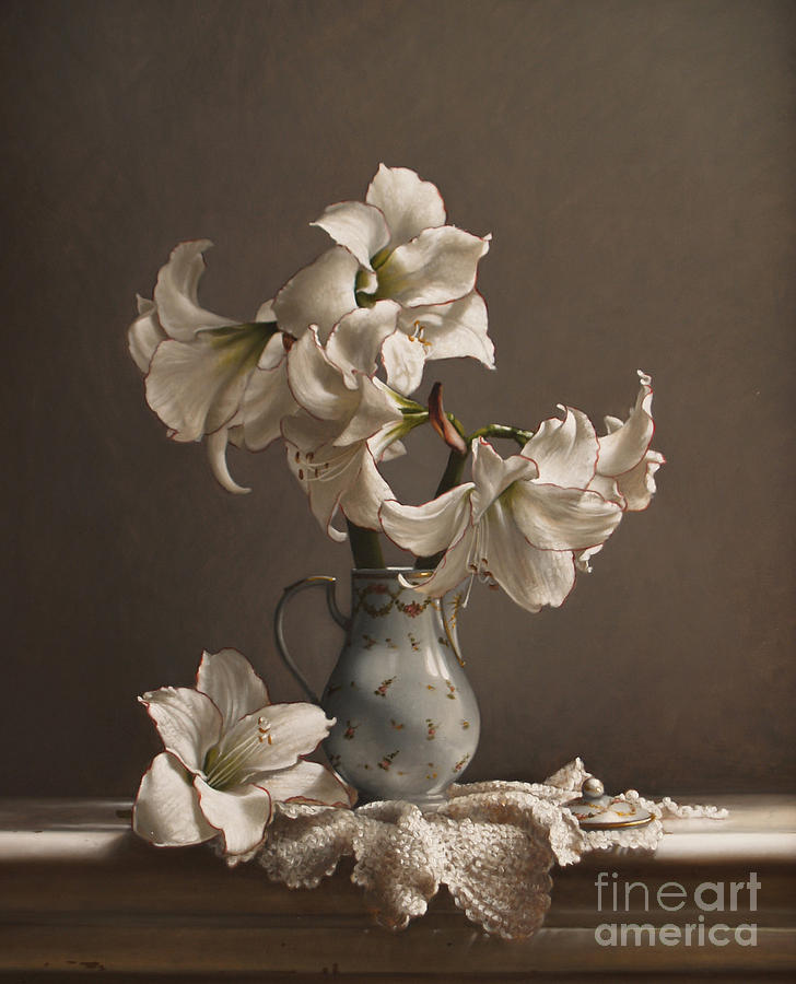 Amaryllis Painting - Amaryllis In A French Chocolate Pot by Lawrence Preston