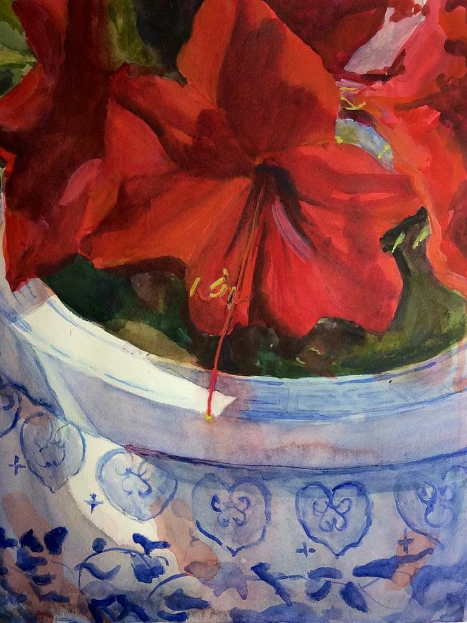 Amaryllis in Chinese Pot by Judith Scull
