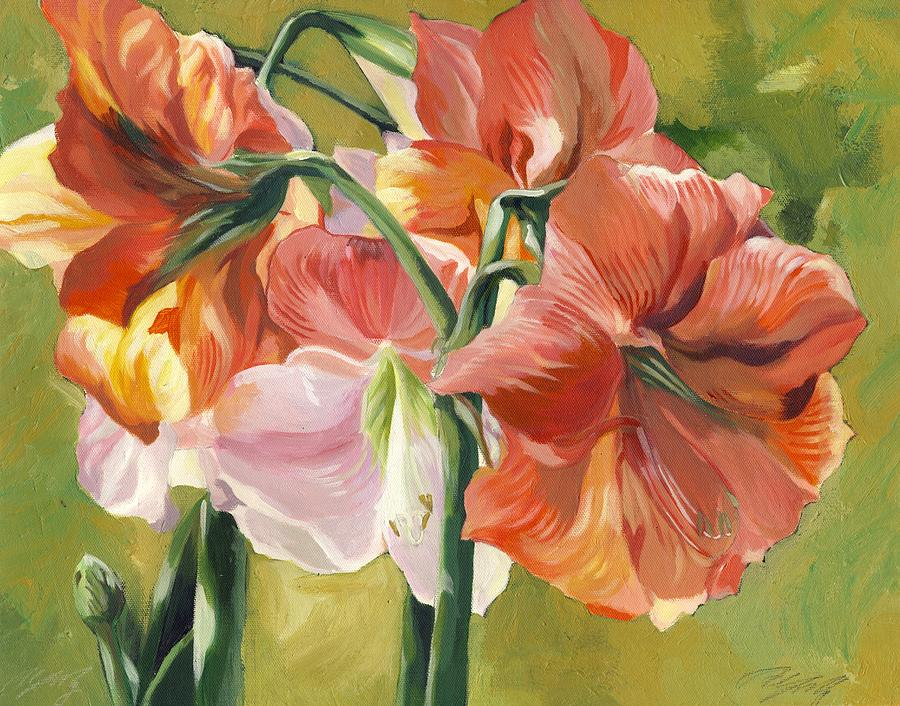 Acrylic Painting - Amaryllis In Spring by Alfred Ng