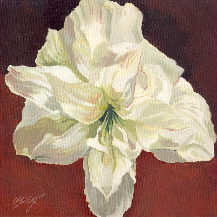 Flower Painting - Amaryllis With Red by Alfred Ng