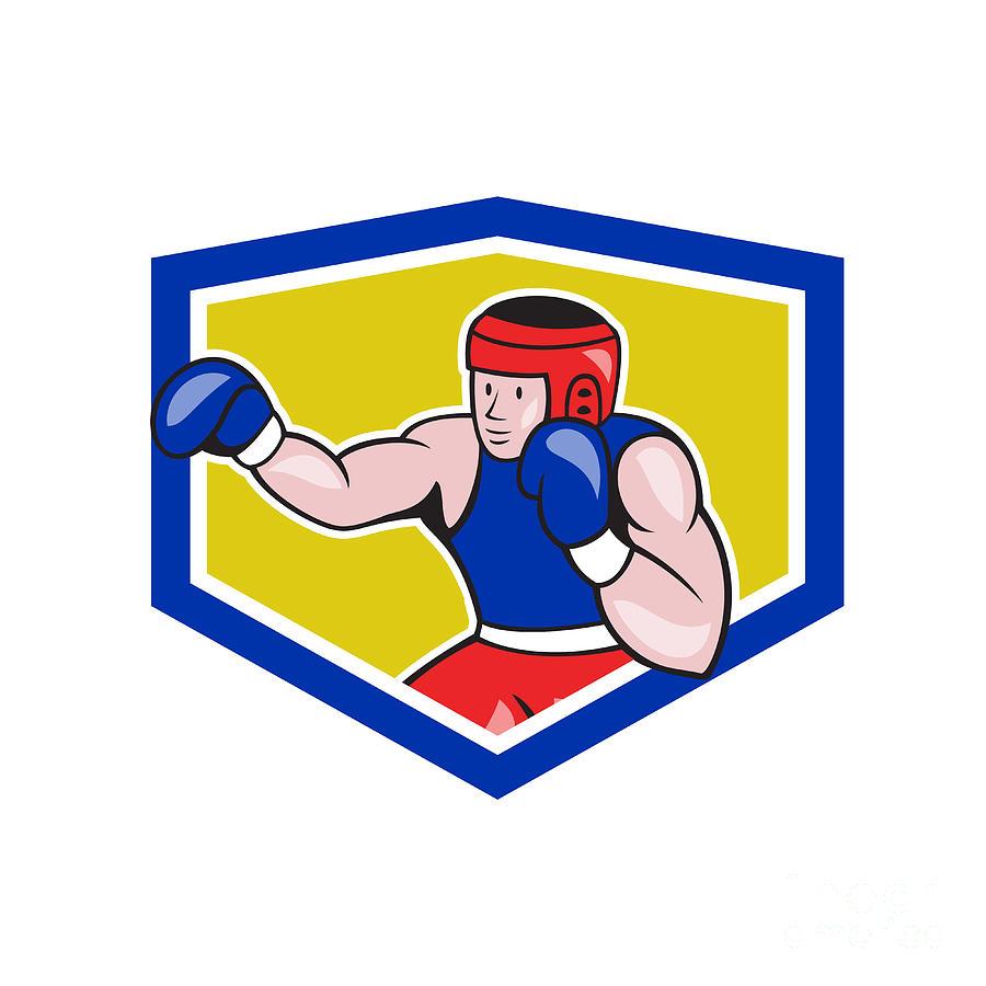 Amateur Digital Art - Amateur Boxer Boxing Shield Cartoon by Aloysius Patrimonio