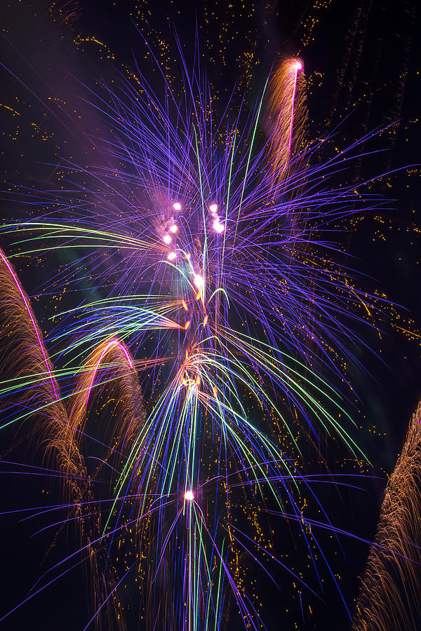 Awesome Fireworks Lights Up The Darkness Photograph - Amazing Beautiful Fireworks by Garry Gay