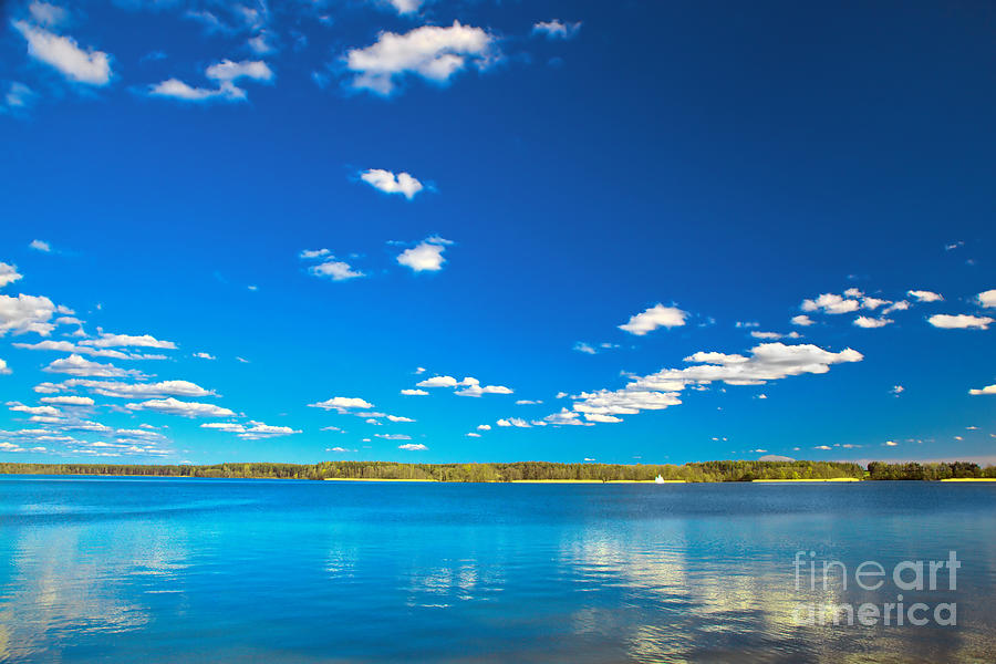 Lake Photograph - Amazing Clear Lake Under Blue Sunny Sky by Michal Bednarek