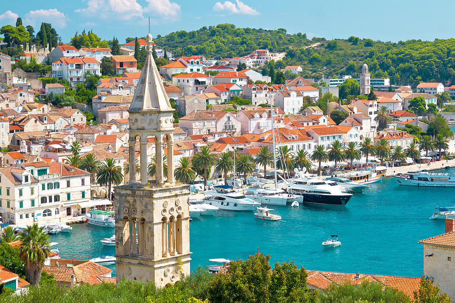 Panorama Photograph - Amazing Town Of Hvar Harbor by Brch Photography