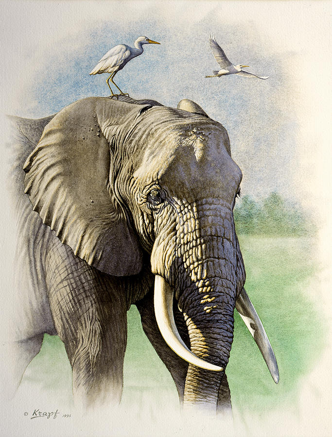 Wildlife Painting - Amboseli Morning   by Paul Krapf
